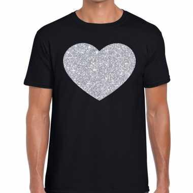 I love fun t shirt zwart zilveren bedrukking heren