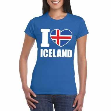 I love ijsland supporter shirt blauw dames