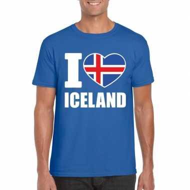 I love ijsland supporter shirt blauw heren
