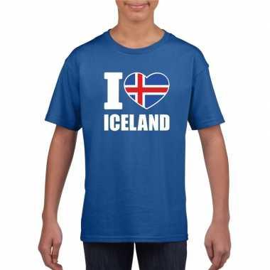 I love ijsland supporter shirt blauw jongens meisjes