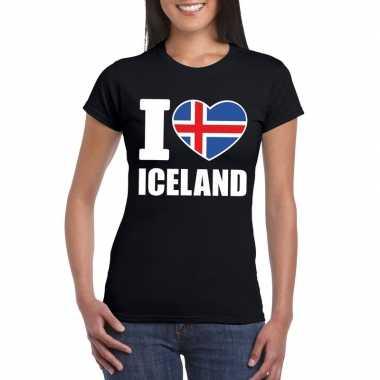 I love ijsland supporter shirt zwart dames