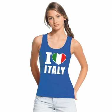I love italie supporter mouwloos shirt blauw dames