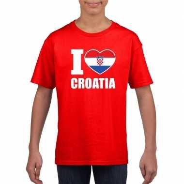 I love kroatie supporter shirt rood jongens meisjes