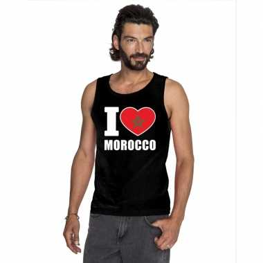 I love marokko supporter mouwloos shirt zwart heren