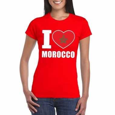 I love marokko supporter shirt rood dames