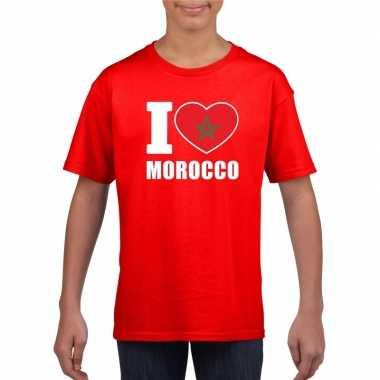 I love marokko supporter shirt rood jongens meisjes