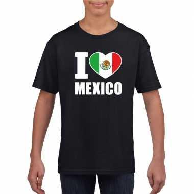 I love mexico supporter shirt zwart jongens meisjes