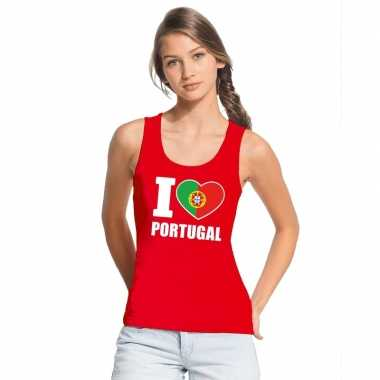 I love portugal supporter mouwloos shirt rood dames