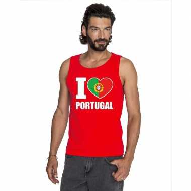 I love portugal supporter mouwloos shirt rood heren