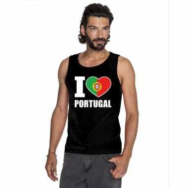 I love portugal supporter mouwloos shirt zwart heren