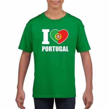 I love portugal supporter shirt groen jongens meisjes