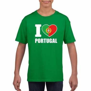 I love portugal supporter shirt groen jongens meisjes