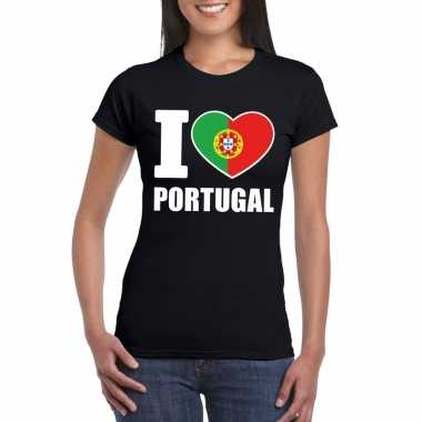 I love portugal supporter shirt zwart dames