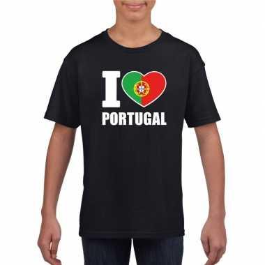 I love portugal supporter shirt zwart jongens meisjes