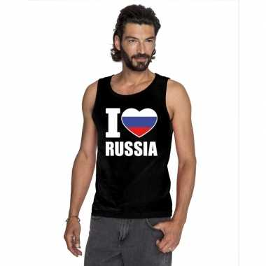 I love rusland supporter mouwloos shirt zwart heren