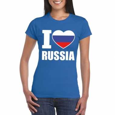 I love rusland supporter shirt blauw dames
