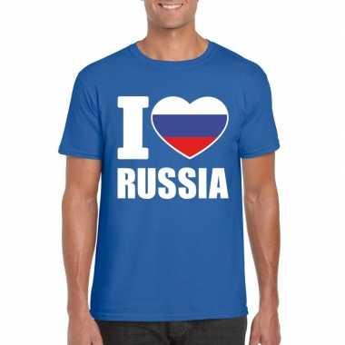 I love rusland supporter shirt blauw heren