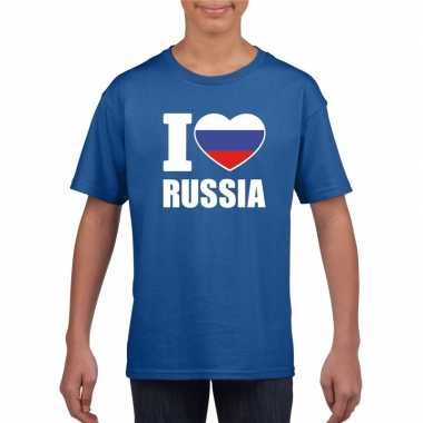 I love rusland supporter shirt blauw jongens meisjes