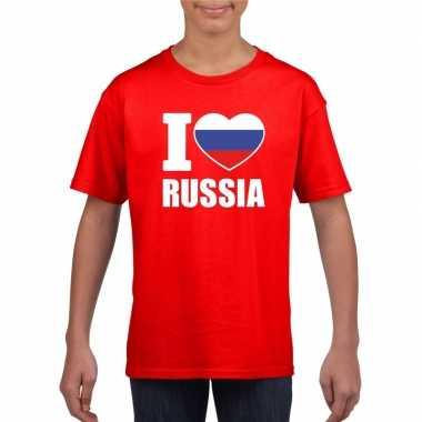 I love rusland supporter shirt rood jongens meisjes