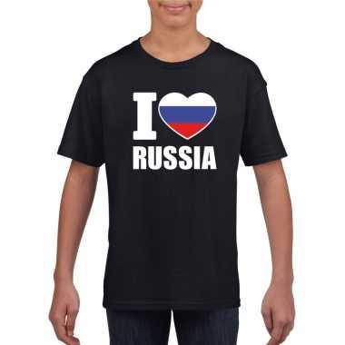 I love rusland supporter shirt zwart jongens meisjes