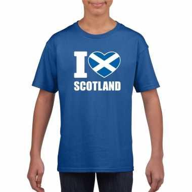 I love schotland supporter shirt blauw jongens meisjes
