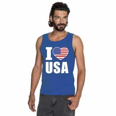 I love usa/ amerika supporter mouwloos shirt blauw heren