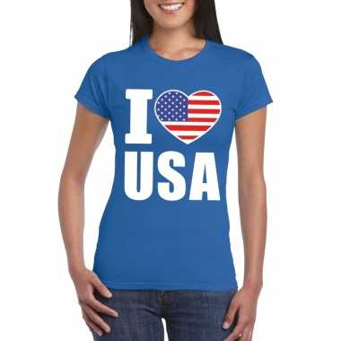 I love usa amerika supporter shirt blauw dames