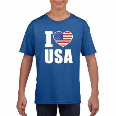 I love usa amerika supporter shirt blauw jongens meisjes