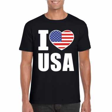 I love usa amerika supporter shirt zwart heren