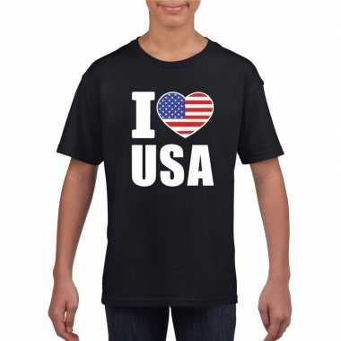I love usa amerika supporter shirt zwart jongens meisjes