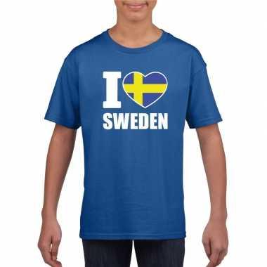 I love zweden supporter shirt blauw jongens meisjes