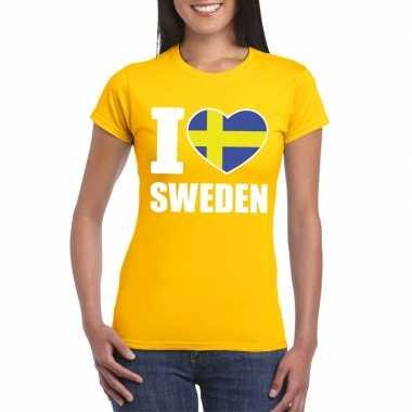 I love zweden supporter shirt geel dames