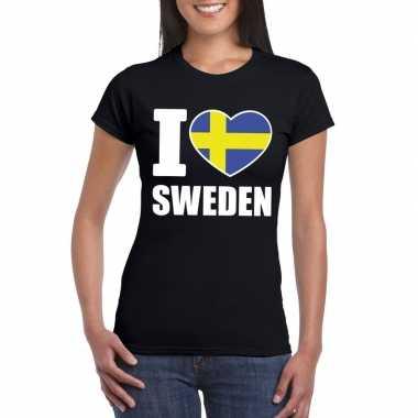 I love zweden supporter shirt zwart dames