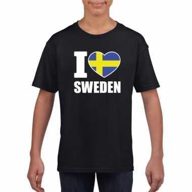 I love zweden supporter shirt zwart jongens meisjes