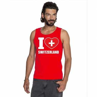 I love zwitserland supporter mouwloos shirt rood heren