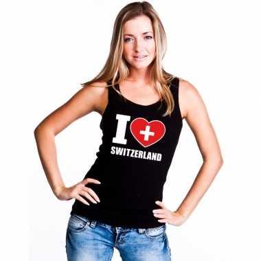 I love zwitserland supporter mouwloos shirt zwart dames