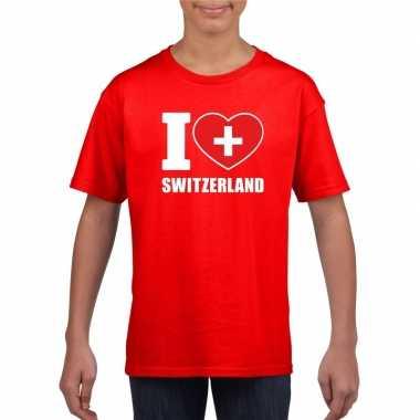 I love zwitserland supporter shirt rood jongens meisjes