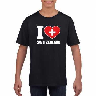 I love zwitserland supporter shirt zwart jongens meisjes