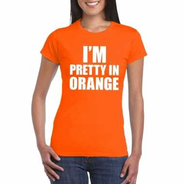 I'm pretty orange t shirt oranje dames