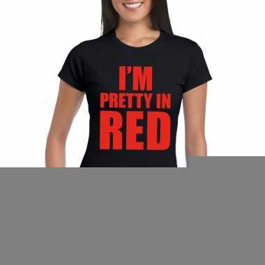 I'm pretty red t shirt zwart dames
