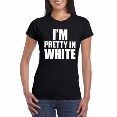 I'm pretty white t shirt zwart dames