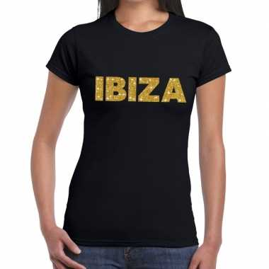 Ibiza gouden letters fun t shirt zwart dames