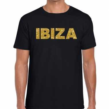 Ibiza gouden letters fun t shirt zwart heren