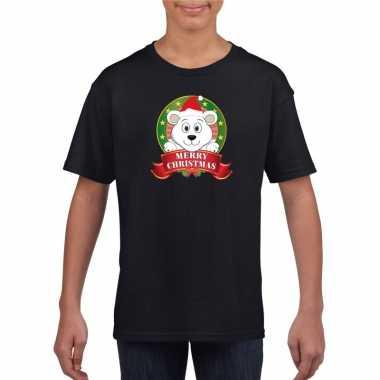 Ijsbeer kerstmis shirt zwart jongens meisjes