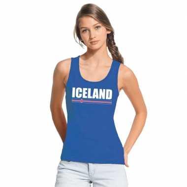 Ijsland supporter mouwloos shirt/ tanktop blauw dames