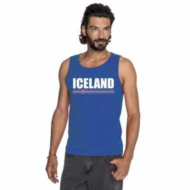 Ijsland supporter mouwloos shirt/ tanktop blauw heren