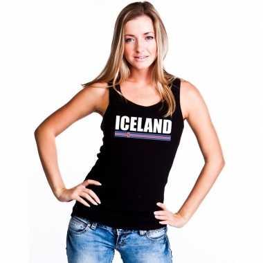 Ijsland supporter mouwloos shirt/ tanktop zwart dames