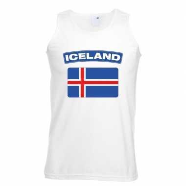 Ijsland vlag mouwloos shirt wit heren