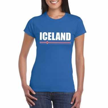 Ijslandse supporter t shirt blauw dames