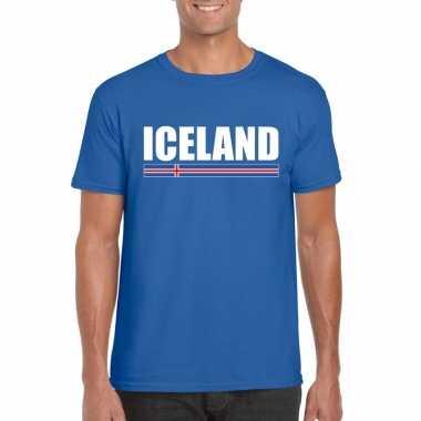 Ijslandse supporter t shirt blauw heren